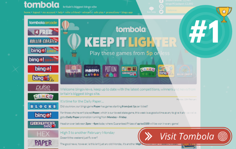Best Online Bingo Sites - 1 Tombola