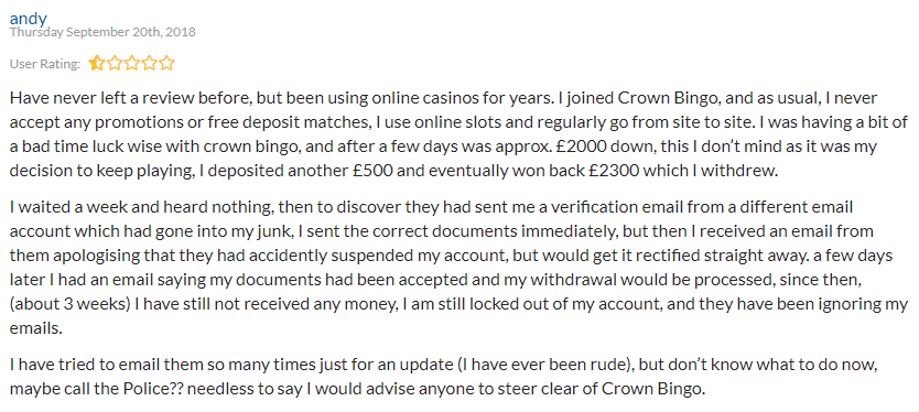 Crown Bingo Reviews