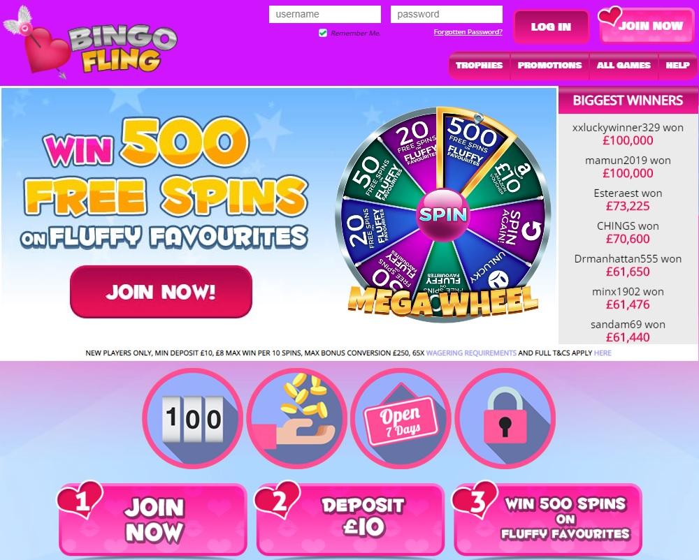Bingo Fling Homepage