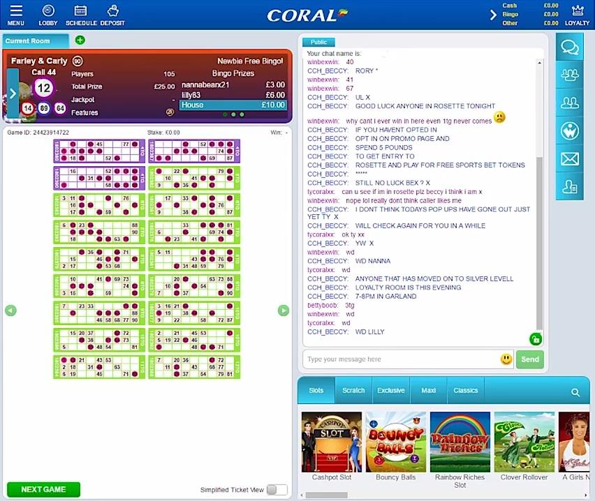 Coral Bingo Game in Progress
