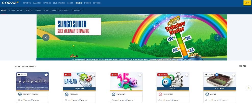 Coral Bingo Homepage