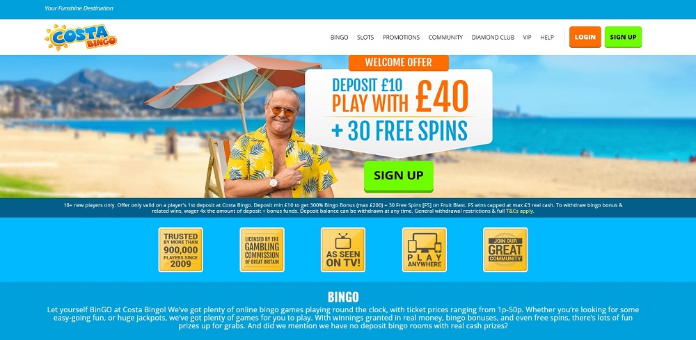Costa Bingo Homepage