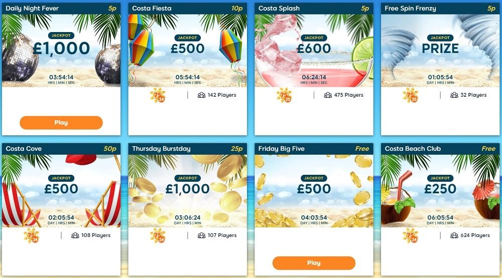 Costa Bingo Jackpots Lobby