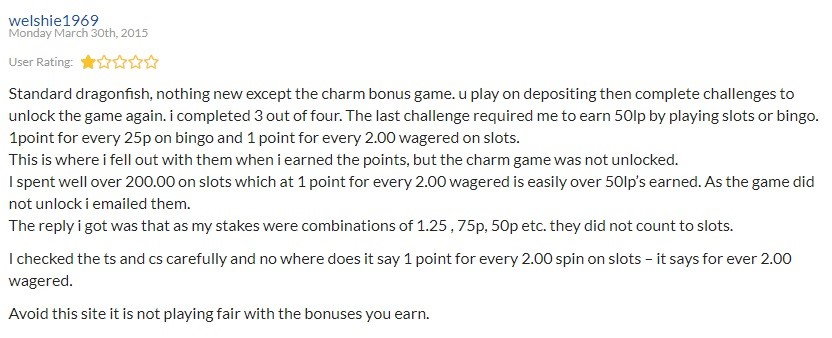Lucky Charm Bingo User Reviews 3