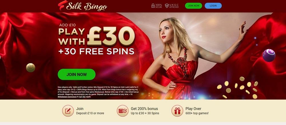 Silk Bingo Homepage