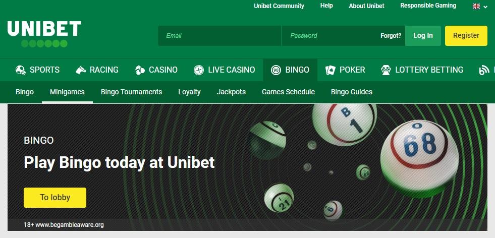 Unibet Bingo Homepage