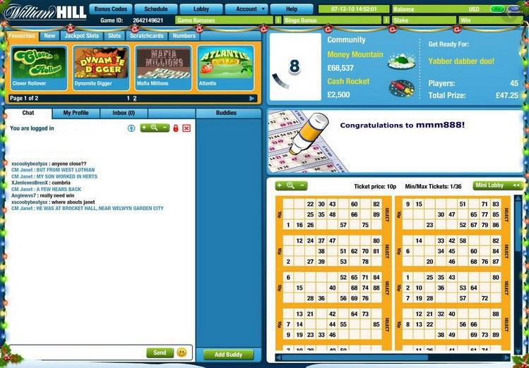 William Hill Bingo Game in Progress