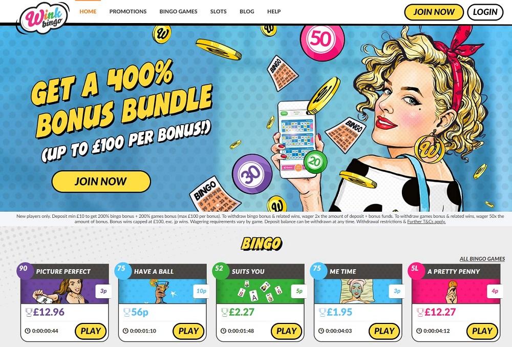 Wink Bingo Homepage