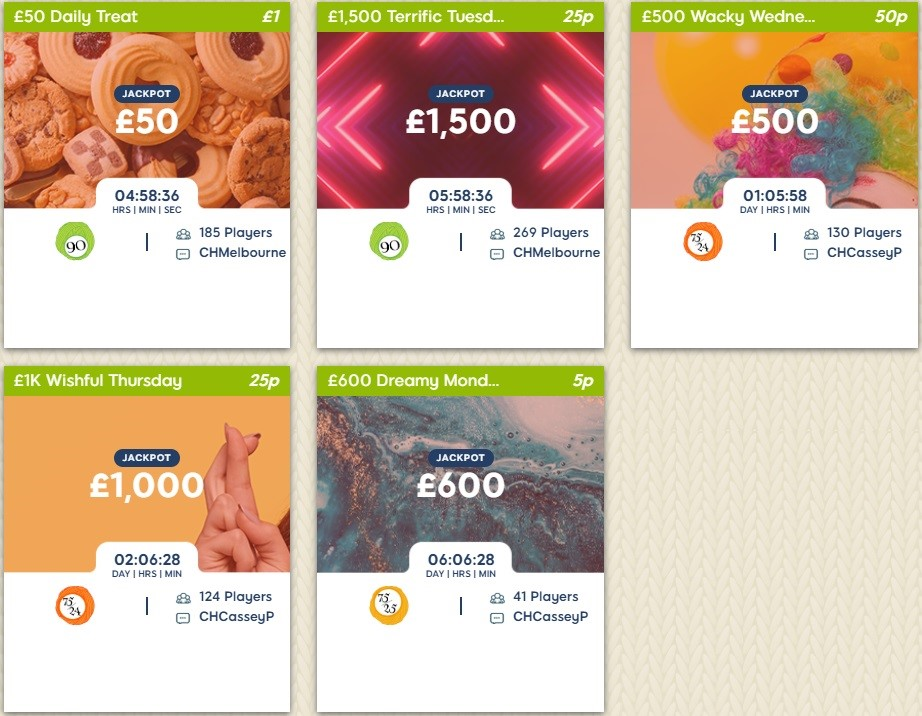 Woolly Bingo Daily Jackpots Lobby