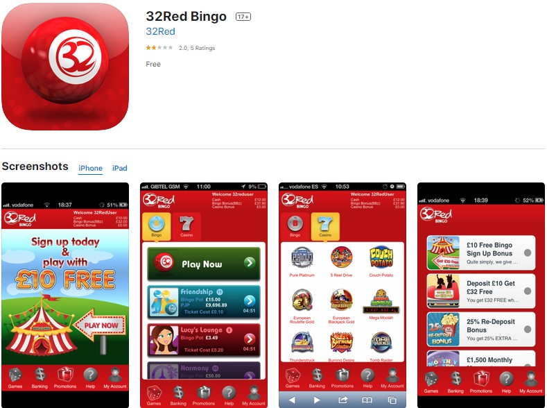 32 Red Bingo Mobile App