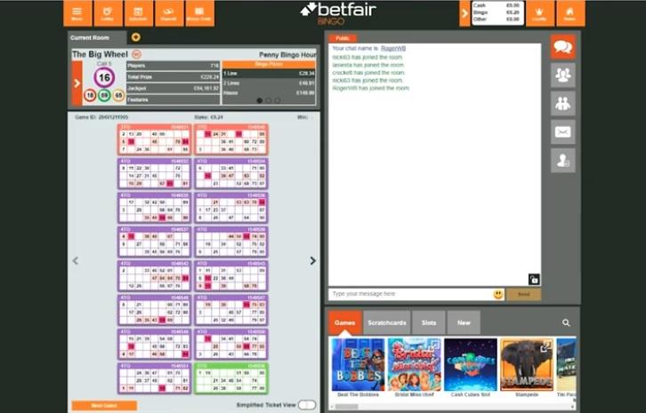 Betfair Bingo Game in Progress