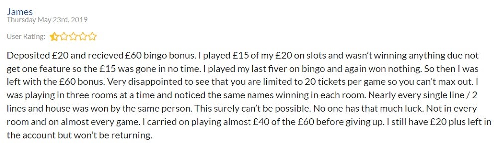 Bingo Diamond Player Review