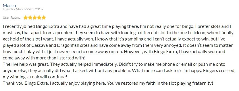 Bingo Extra Player Review 6
