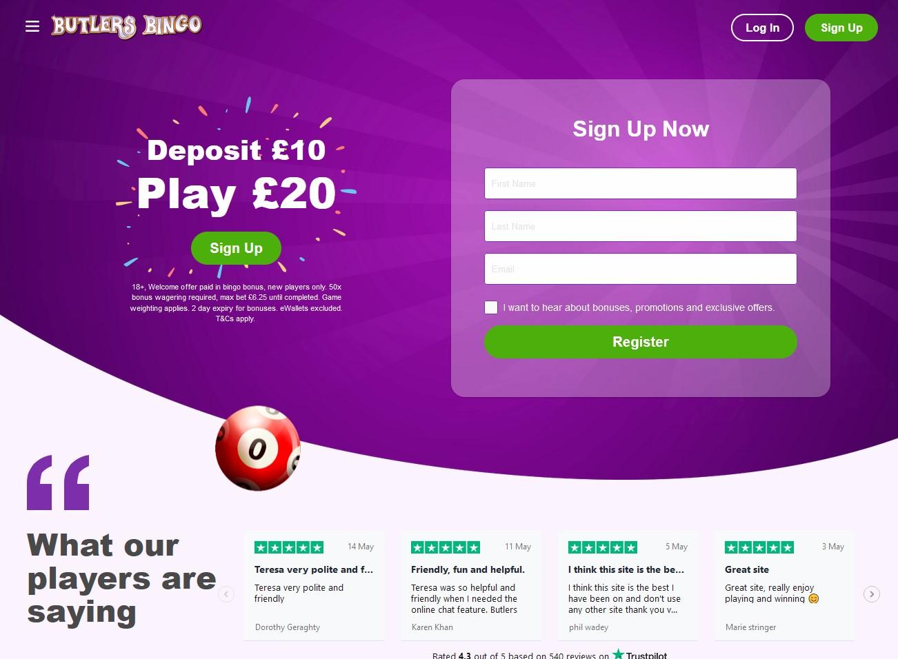 Butlers Bingo Website