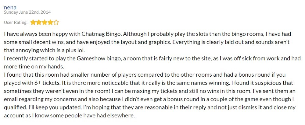 Chat Mag Bingo Player Review 4