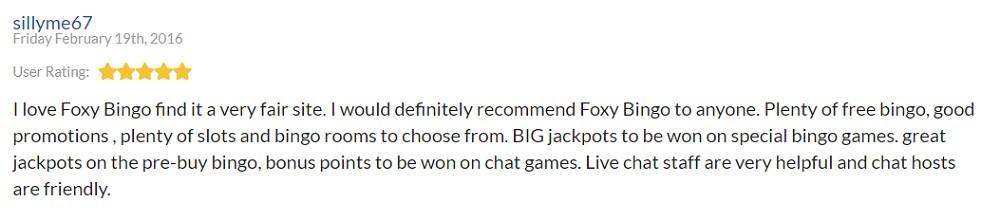 Foxy Bingo Player Review 4
