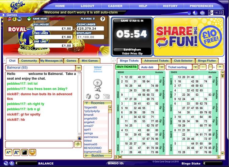Gala Bingo Game in Progress