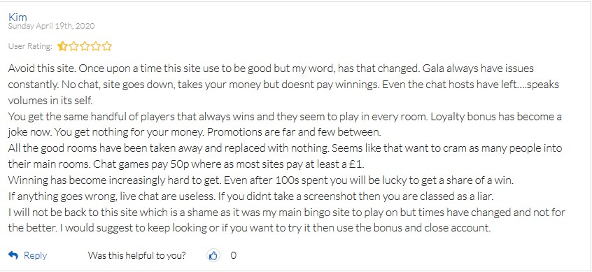 Gala Bingo Player Review