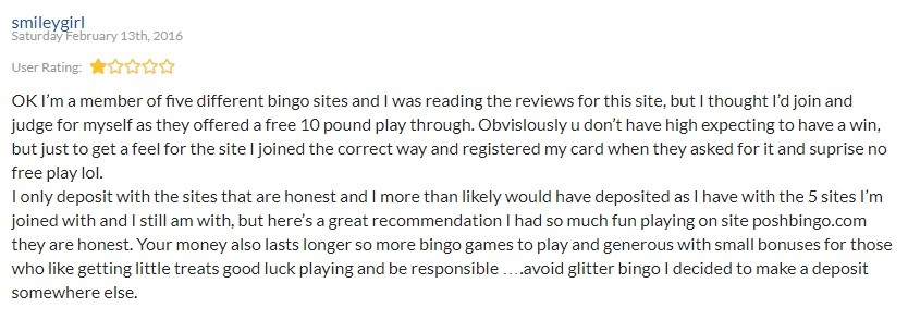 Glitter Bingo Player Review