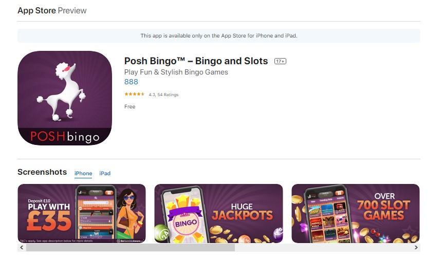 Posh Bingo Mobile App