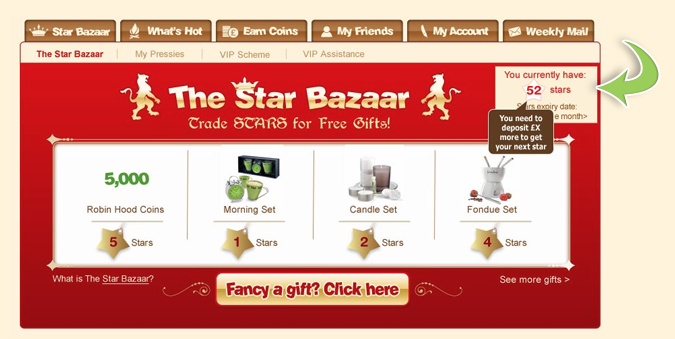 Robin Hood Bingo Star Bazaar Rewards Program
