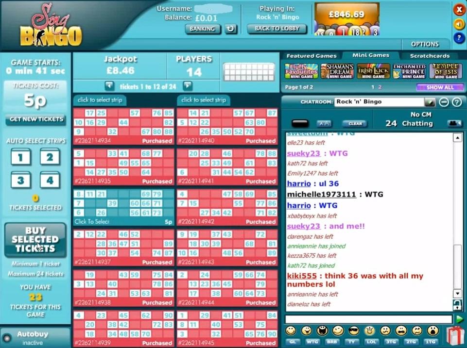 Sing Bingo Game in Progress