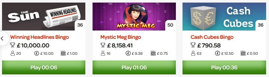 Sun Bingo Special Games