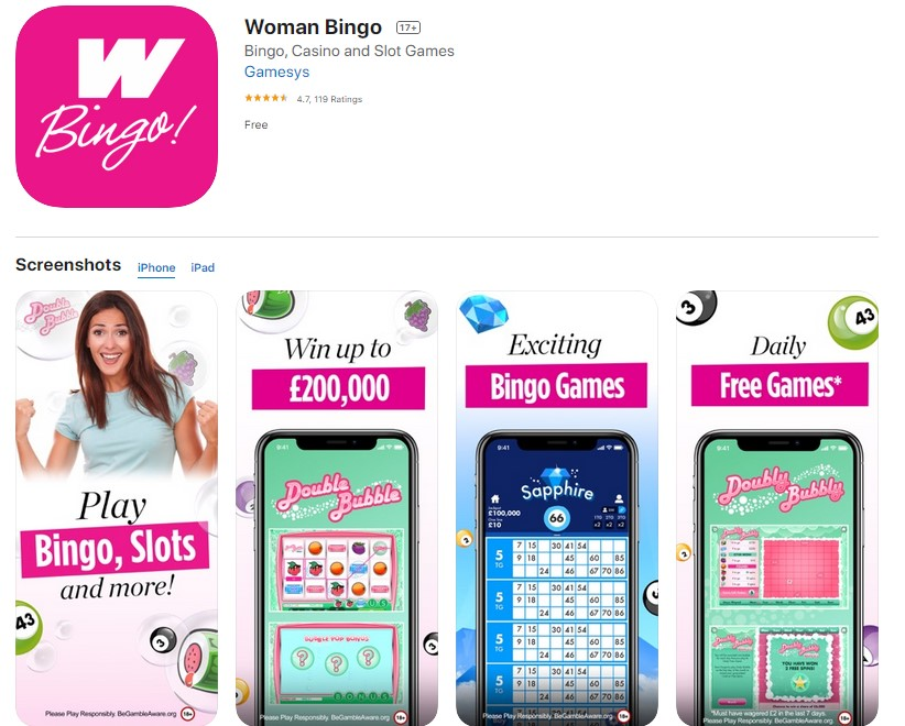 Woman Bingo Mobile App