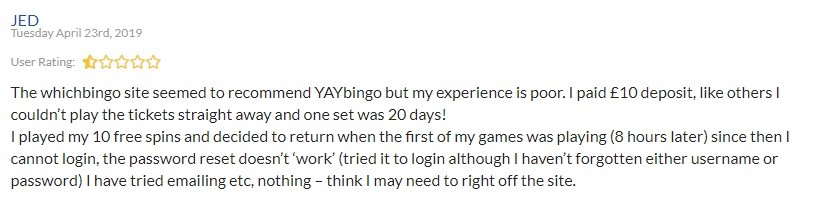 Yay Bingo Player Review