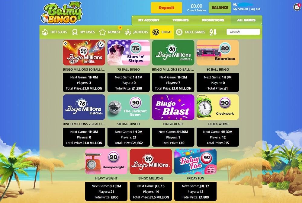 Balmy Bingo Members Area