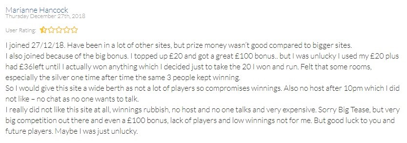 Big Tease Bingo Player Review 2