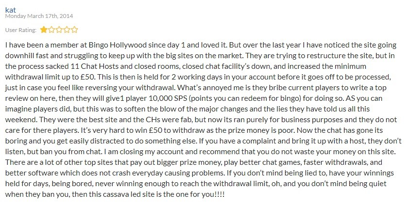 Bingo Hollywood Player Review