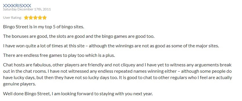 Bingo Street Player Review 4