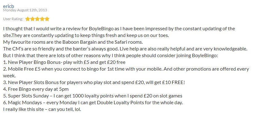 Boyle Bingo Player Review 5
