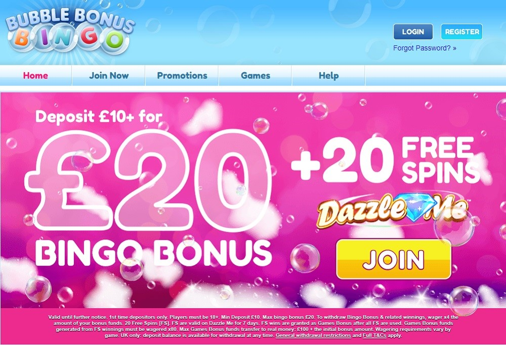 Bubble Bonus Bingo Website