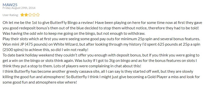 Butterfly Bingo Player Review 3