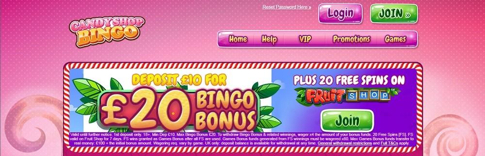 Candy Shop Bingo Website