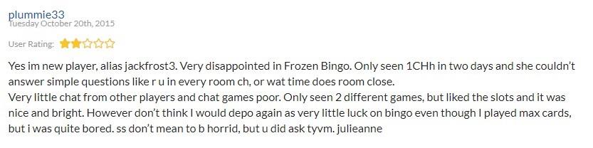Frozen Bingo Player Review 2