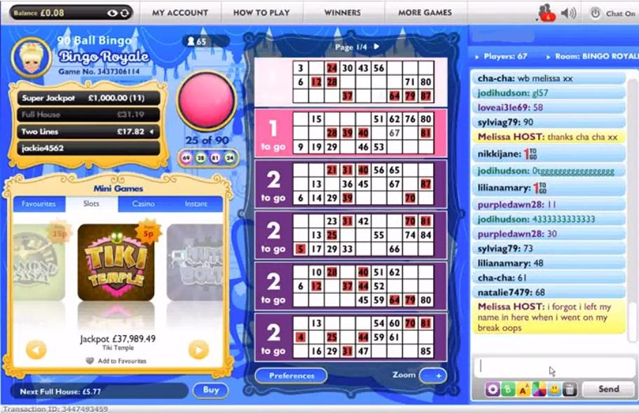 Jackpot Joy Bingo Game in Progress