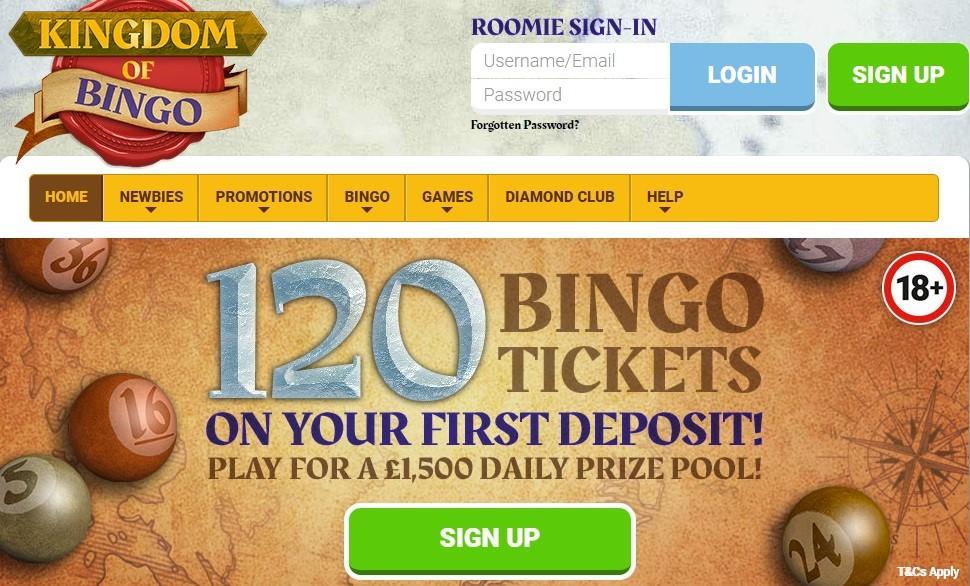 Kingdom of Bingo Website