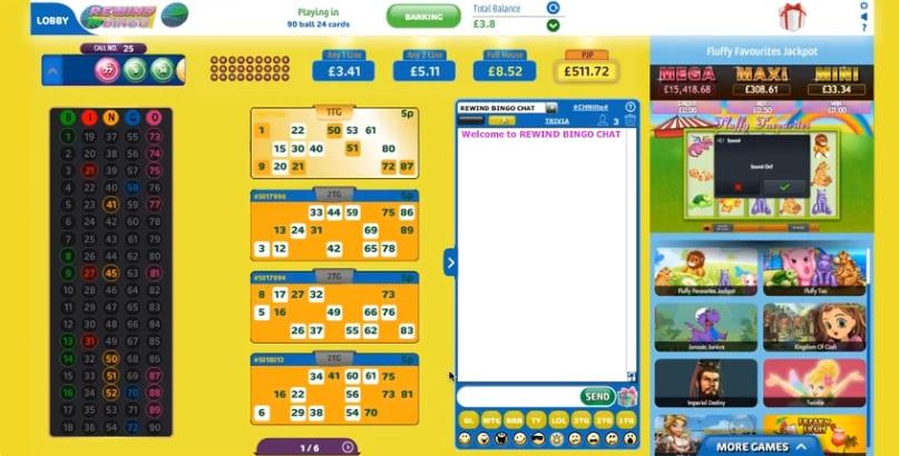 Rewind Bingo Game in Progress