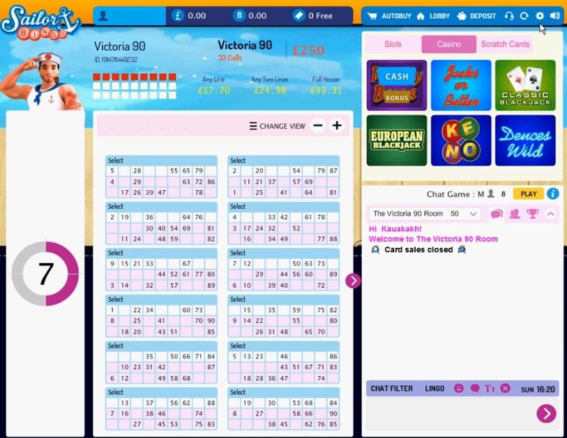 Sailor Bingo Game in Progress