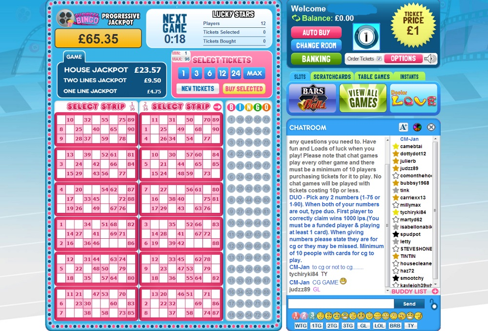 Showreel Bingo Game in Progress