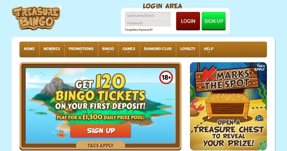 Treasure Bingo Website