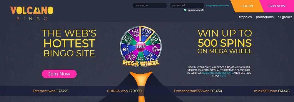 Volcano Bingo Website