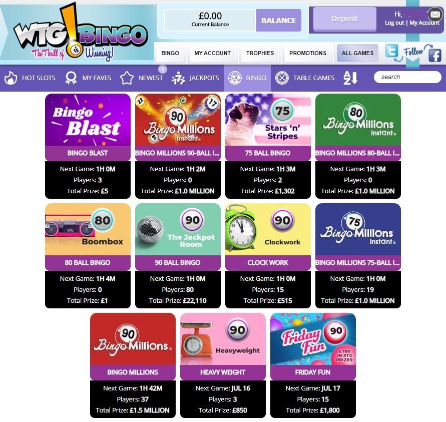 WTG Bingo Members Area