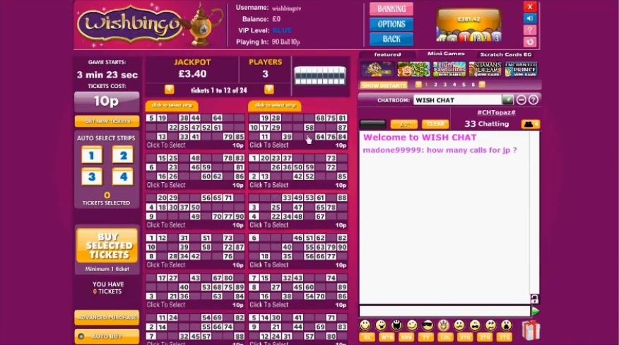 Wish Bingo Game in Progress