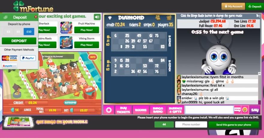mFortune Bingo Game in Progress