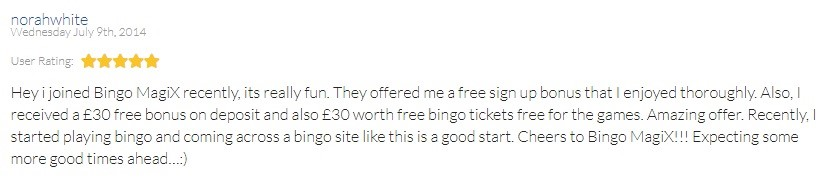 Bingo Magix Customer Review 4