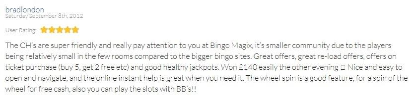 Bingo Magix Customer Review 6